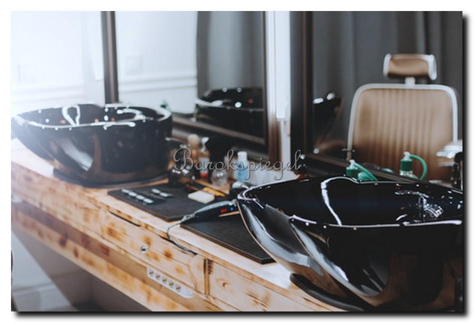 Barbershop spiegel barier leer bruin