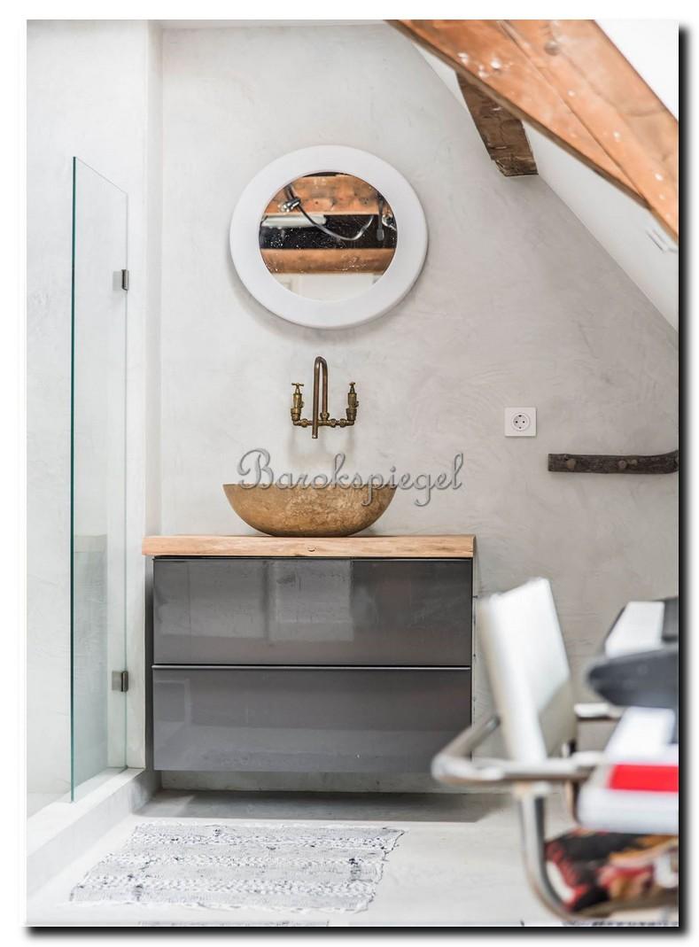 ronde design spiegel wit in badkamer