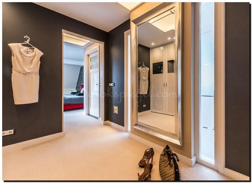 grote passpiegel zilver in kleedkamer, dressing, inloopkast
